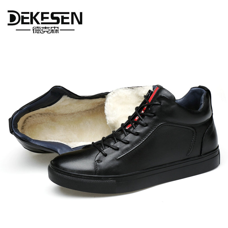 DEKESEN Winter Warm Shoes Snow Boot With Fur Fashion British style