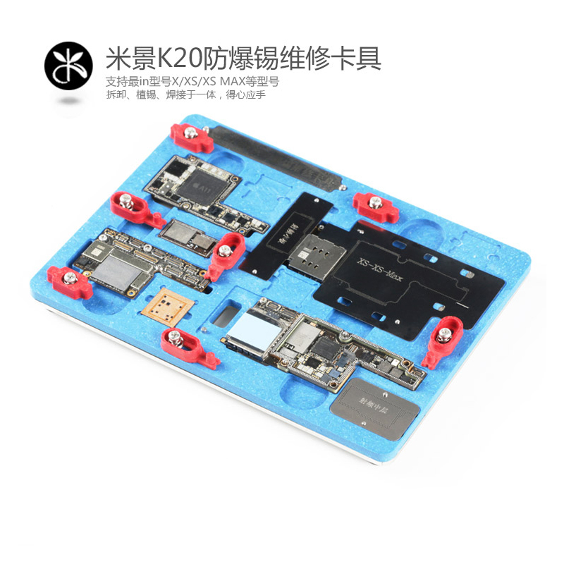 K20 Pcb Holder Repair Fixture For Iphone X Xs Xs Max Motherboard Planting Tin With Bga Reballing Stencil A12 Remove Black Glue