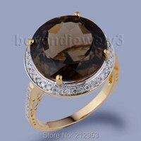 Ювелирные украшения 18kt желтого золота с бриллиантами природного желтого золота дымчатый топаз кольцо, натуральная топаз камень женские Ко