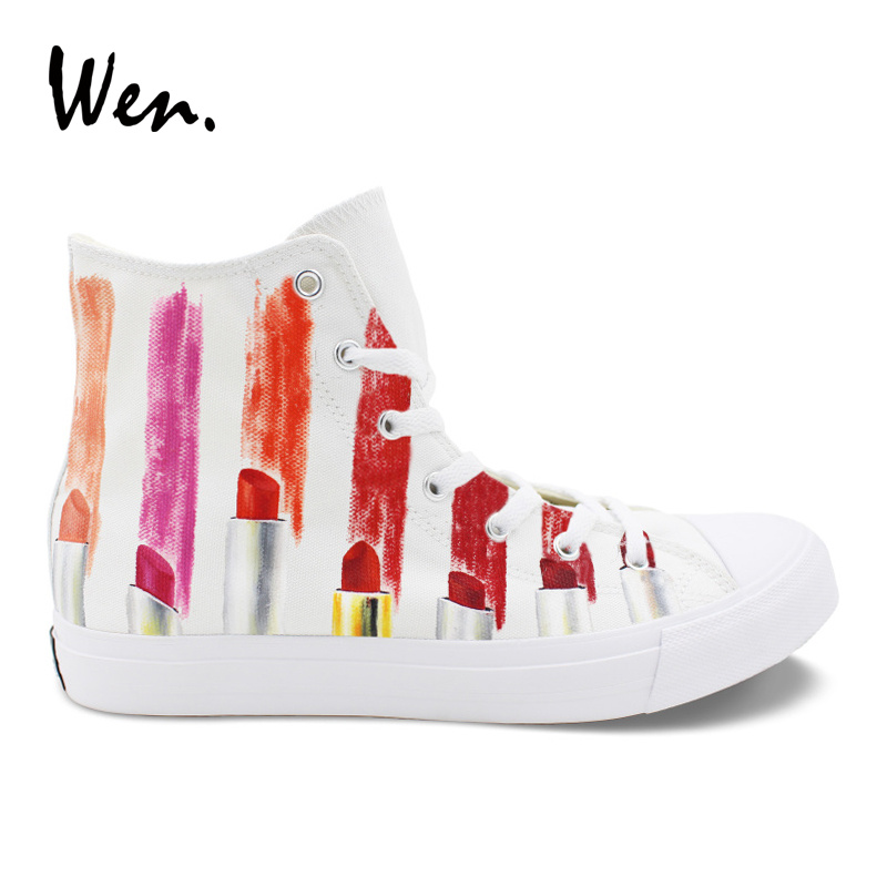 Wen Design Custom Hand Painted Canvas Fashion Shoes Colorful Lipsticks High Top Casual Shoes Sneakers for Women Girl glowing sneakers usb charging shoes lights up colorful led kids luminous sneakers glowing sneakers black led shoes for boys