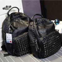 Genuine Leather Fashion Women Backpack Female Brand College Style Backpack Fashion Rivet Student Schoolbag Retro Rucksack