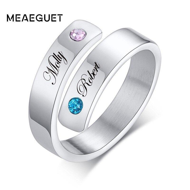 Custom Couple Name Women Rings Personalized Wedding Anniversary
