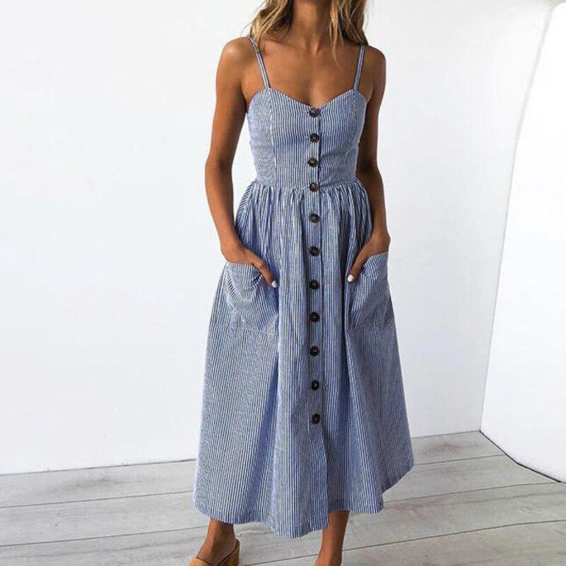 2f9bf9cc759b OHRYIYIE Women Summer Striped Dress 2018 New Casual Strapless Summer Beach  Dress Ladies Backless Boho Dress Female Shirt Dress