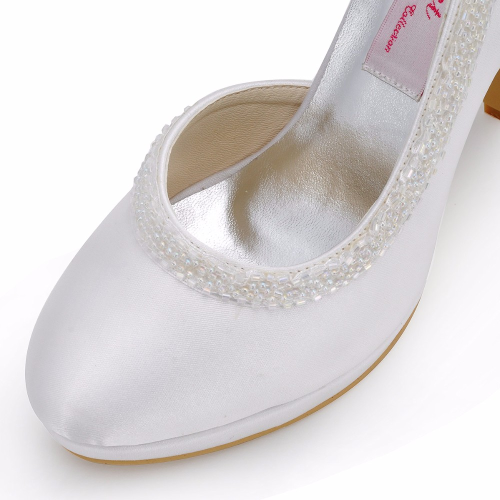 Woman High Heel Platform Shoes White Ivory Size 6 Pearls Satin Bridesmaid  Lady Evening Party Wedding Bridal Pumps EL 005C PF-in Women s Pumps from Shoes  on ... c890013effab