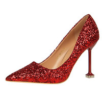 Women Bride Lady Red High Heel Comfortable Pointed Toe Pumps Sequins Bridal Wedding Evening Dress Shoes