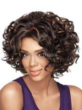 Women 's Medium Short Curly Wigs High quality Synthetic Hair Wig Blonde/ Dark brown/ Auburn African American Curl Female Wig