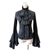 Customized 2018 Black and White Gothic Victorian Lolita Shirts Tops Costume Long Flare Sleeve Lace Ruffles Blouses For Women