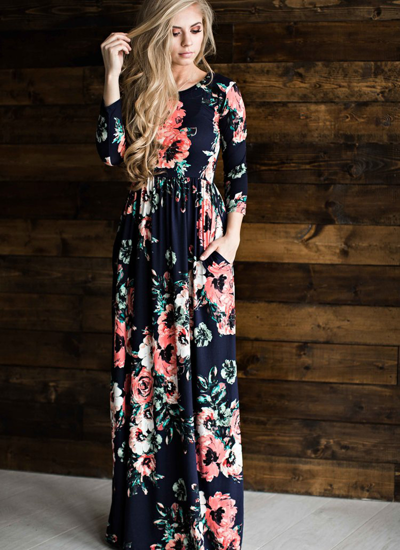 ELSVIOS 2017 Summer Boho Beach Dress Fashion Floral Printed Women Long Dress Three Quarter sleeve Loose Maxi Dress Vestidos 8