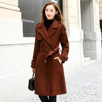 2018 New Ladies Of Spring And Autumn Woolen Blends Long Coat Elegant Fashion Casual Wool Overcoat