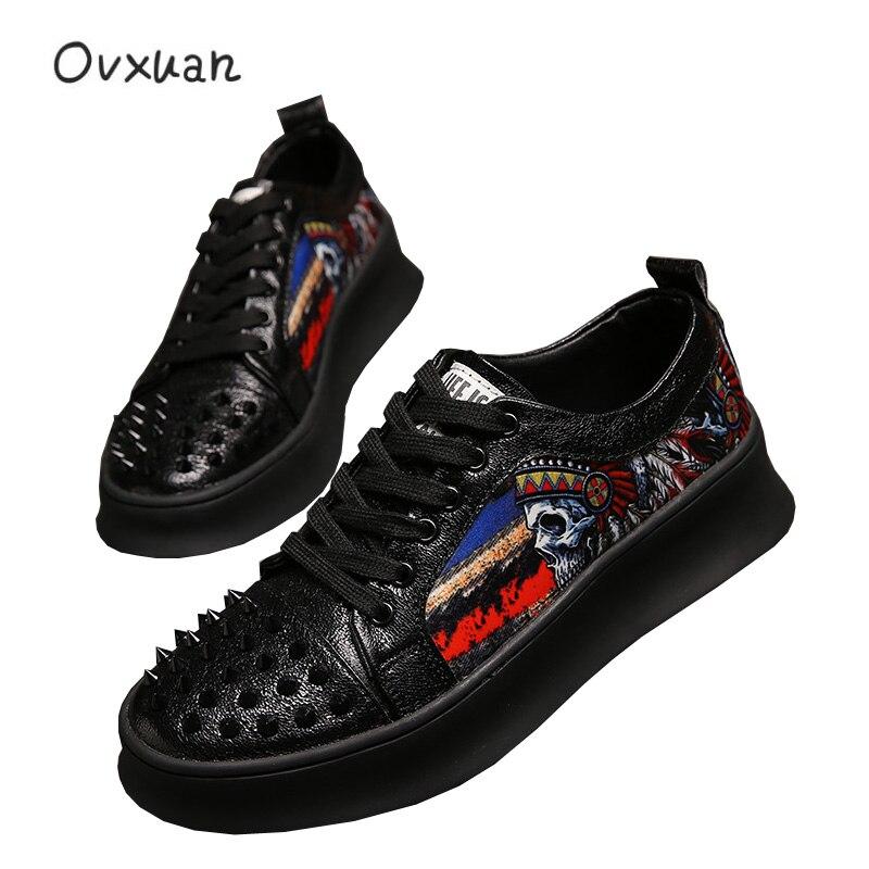 Luxury Brand Punk Skull Metal Rivet Top Men trainers Shoes Casual Platform Sneakers Fashion Prom Dress