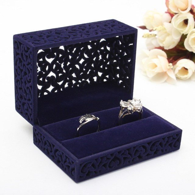 Blue Velvet Flock Jewelry Gift Box Case Earrings Ring Necklace
