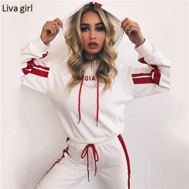 2017 Autumn 2 Piece Set Women Tracksuit Sportswear Casual White Red Sweat Pants Hooded Cropped Sweatshirt Hoodie