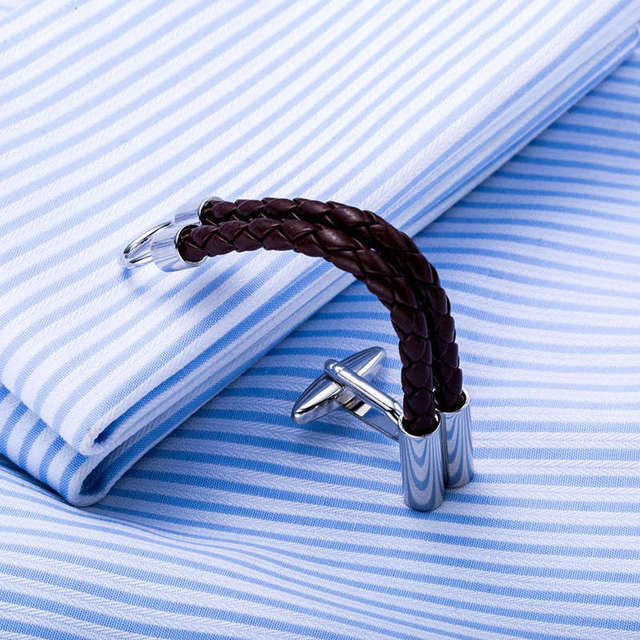Men's Closed Loop Leather Cufflinks