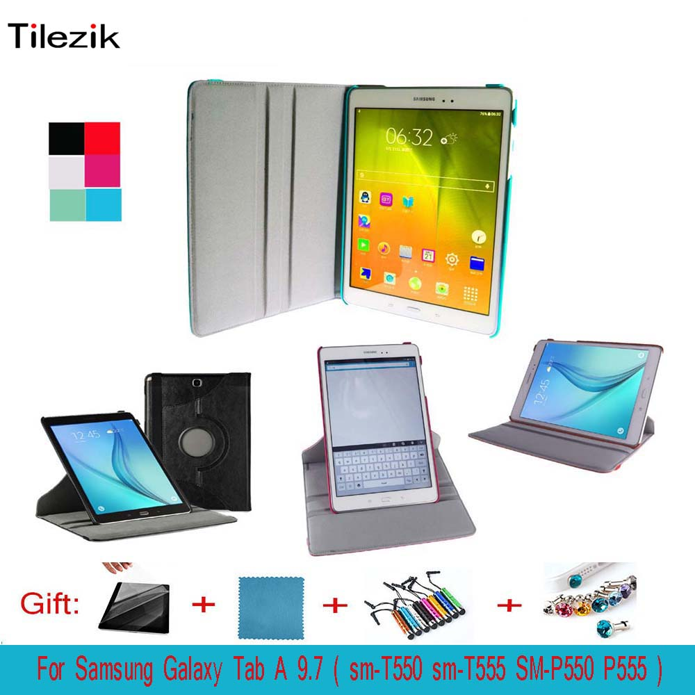 360 Degree Rotated PU Leather Smart cover For Samsung Galaxy Tab A 9.7 SM-T550 SM-T555 SM-P550 SM-P555 9.7 inch tablet case