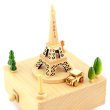 Creative Wood Music Box Eiffel Tower Sky City Swivel Mechanism Holiday Birthday Gift  Carousel Music Box