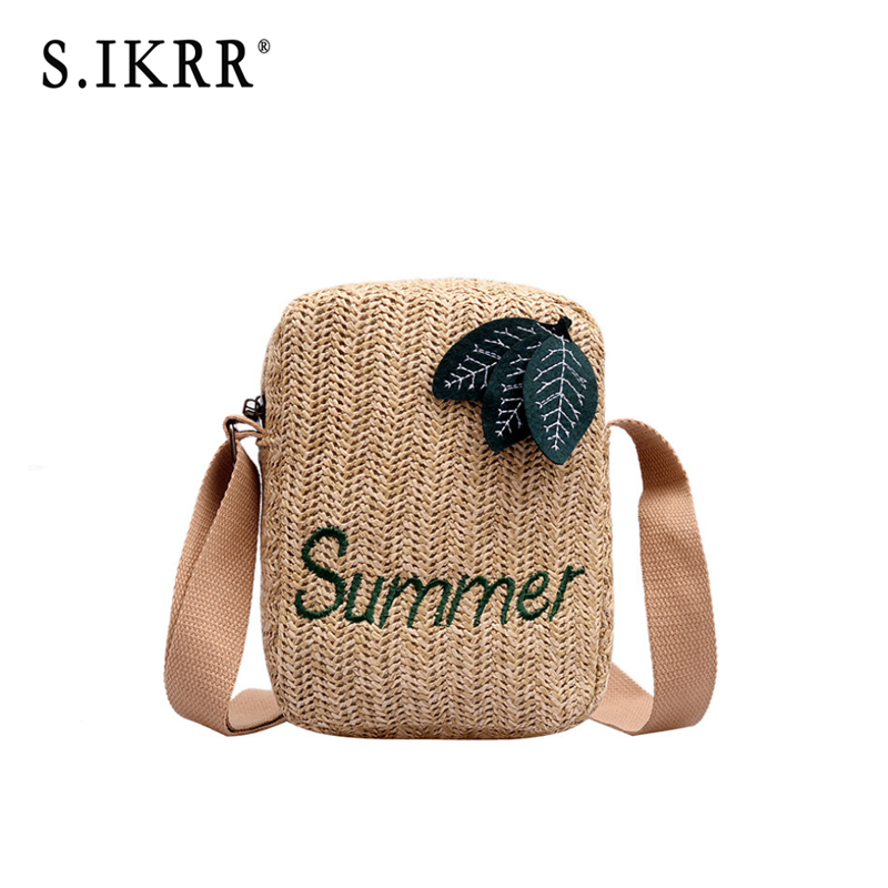 S.IKRR Fashion Square Straw Bag Women Summer Letter Embroidery Candy Color Rattan Bag Hand-woven Beach Bohemia Handbag New