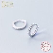 BOAKO Silver Earrings For Women Hip Hop Men Small Hoop Tiny Circle Zircon Party Jewelry Ear bone Rings K35