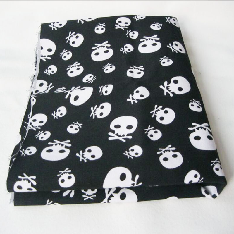 140x50cm 1pc Good ! Skull fabric 100%Cotton Fabric Small Skull Printed Fabric Sewing Material Patchwork Telas Diy Skull Clothes
