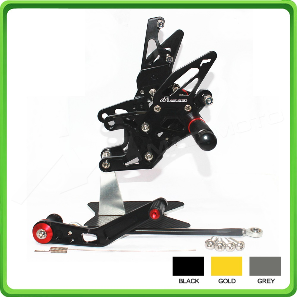 GP Shift Rearsets Rear set sets Foot Rest Pegs Pedal For KAWASAKI Ninja ZX10R ZX 10R ZX-10R 2016 16 Black