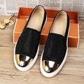 2017 Nuevos Hombres de Los Holgazanes Zapatos del Barco Pisos de Cuero Genuino, Hombres de La Moda Mocasines Zapatos Zapatos Homme Hombres Suaves Rhinestone Draving
