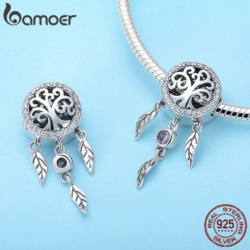 BAMOER 100% 925 Sterling Silver Dream Catcher Holder Family Tree Beads fit Women Charm Bracelets Necklaces DIY Jewelry SCC723