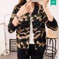 Де Голубь 2016 осень женщин новый двубортный кардиган свитер V-образным Вырезом камуфляж куртка женская