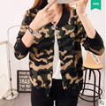 De Dove 2016 autumn women's new double-breasted cardigan sweater V-neck camouflage jacket female