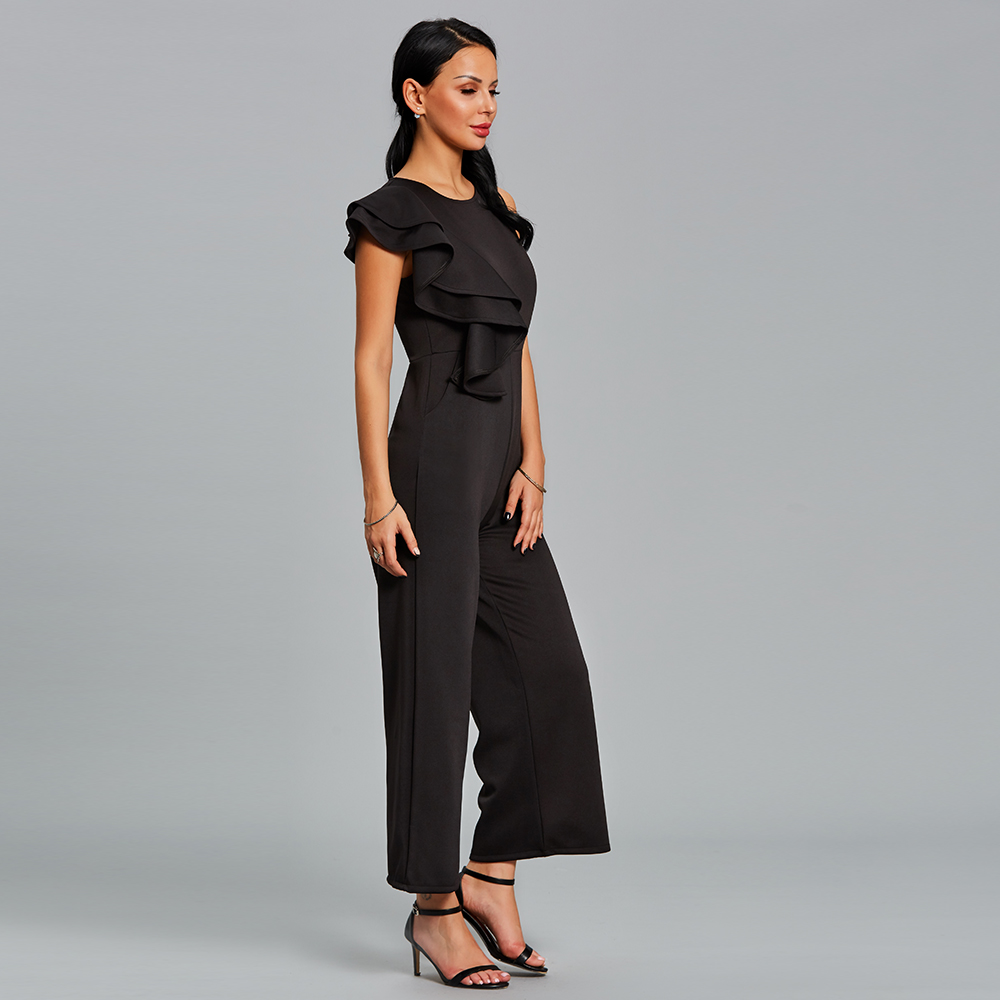ee85774e0ddb Women Ruffle Jumpsuit Long Summer Black One Shoulder Female Rompers Overall  Elegant Fashion Office Wide Legs Jumpsuit
