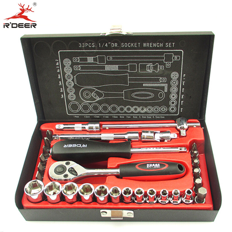 RDEER 1/4 Socket Wrench Set 33pcs/Set Quickly Release Ratchet Handle Chromium-Vanadium Steel Car Maintenance Hand Tools 3 8 10mm chrome vanadium ratchet wrench 3 8 spanner socket set crv extend handle