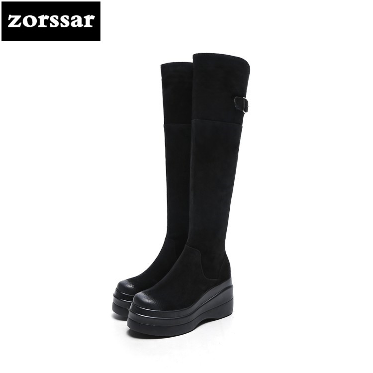 {Zorssar} 2018 New arrival Warm snow Boots Women Over the knee boots platform high heel boots Suede leather Winter woman shoes new arrival winter flat heel over the knee women boots round toe snow boots knee high warm winter female boots black brown white