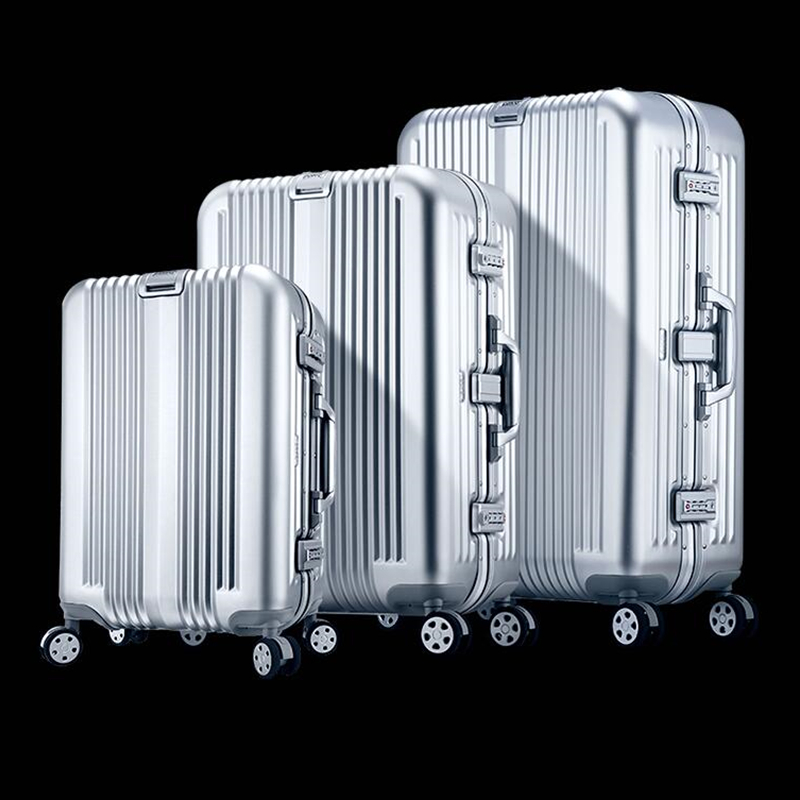 Brand Full Aluminum Spinner Rolling Luggage Suitcase Men Bussiness Trolley Bag Valise Top Quality Male Travel Box Women Silver top quality trolley luggage bags storage box suitcase bag men travel large capacity pc pull rod trunk women waterproof rolling