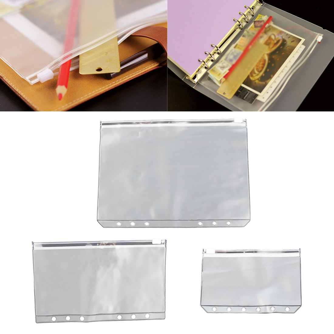 2 PCS Plastic Organizer Pouch Storage Bag Document Folder Travel Bag Waterproof Bag For Cloth
