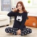 Pajama Наборы Для Женщин С Длинным рукавом печати Хлопка Пижамы пуловер Плюс размер 4XL