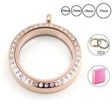 20 мм 25 мм 30 мм водонепроницаемый медальон из розового золота с памятью для женщин 316L нержавеющая сталь твист плавающий медальон ожерелье с кристаллами