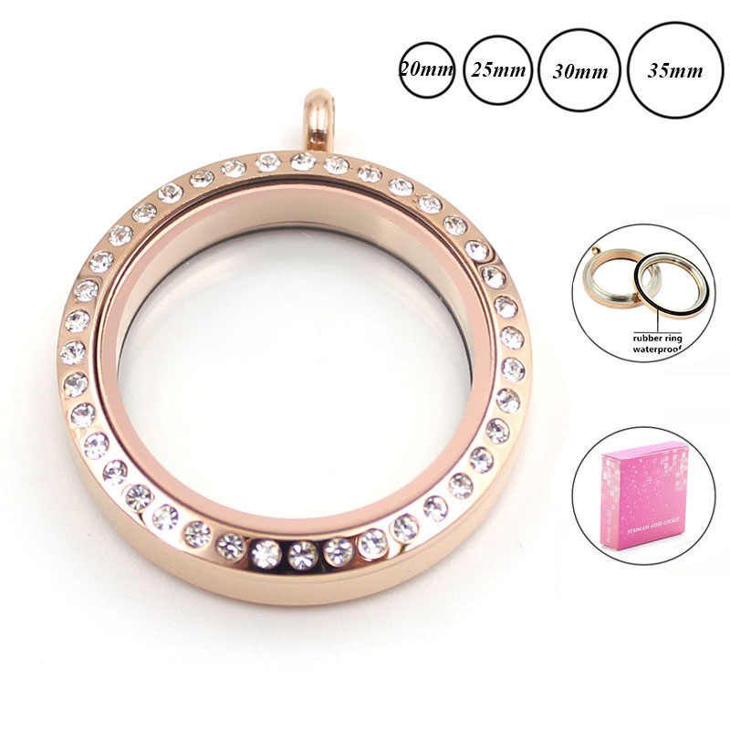20mm 25mm 30mm waterproof rose gold memory locket for Women 316L stainless steel twist floating locket necklace with crystals