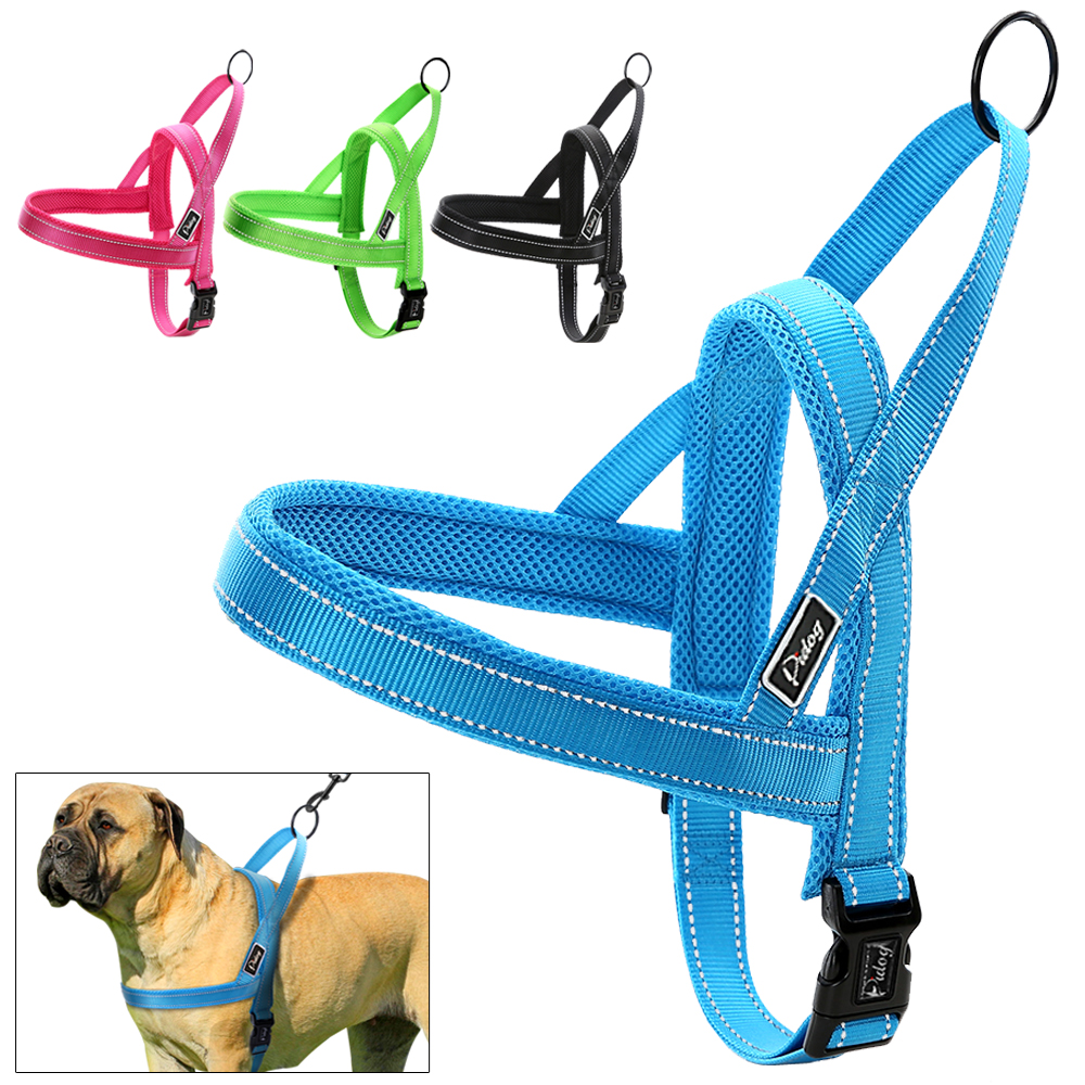 No Pull Nylon Quick Fit Reflective Stitching Dog Harness For Small Medium Large Dog Strong Adjustable XXS XS S M L 4 Colors