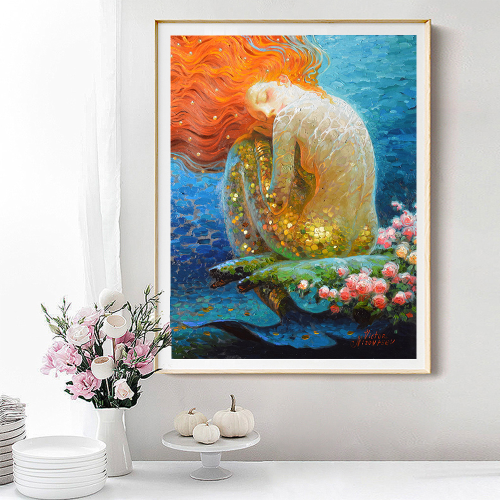 Decor for House Fantasy Classic Mermaid Oil Portray Image Printed On Canvas For The Sitting Room Dwelling Room Adornment Artwork Portray & Calligraphy, Low-cost Portray & Calligraphy, Decor for...
