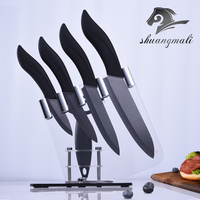 Ceramic Knives Set 3 4 5 6 inch Japanese Knives Meat Slicing Paring Bread Knife Black Zirconia Cooking Tools With Stand Holder