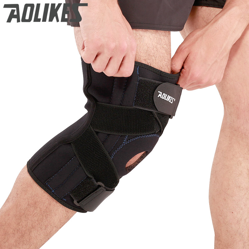AOLIKES 1PCS Adjustable four springs Hinged Wraparound Knee Brace Patella Compression Knee Supports basketball Kneepad Relief