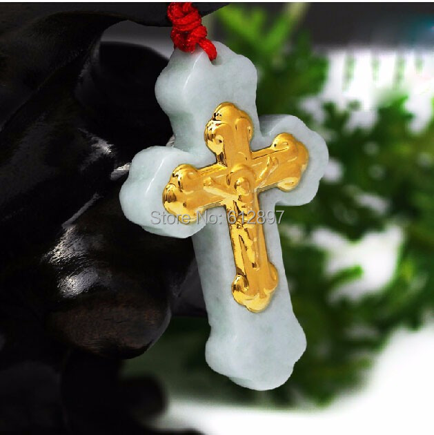 Hot sale 100% Natural Jadeite new 24K Yellow gold Cross Pendant With Certificate pure 24k yellow gold 100% natural jadeite zodiac chicken pendant