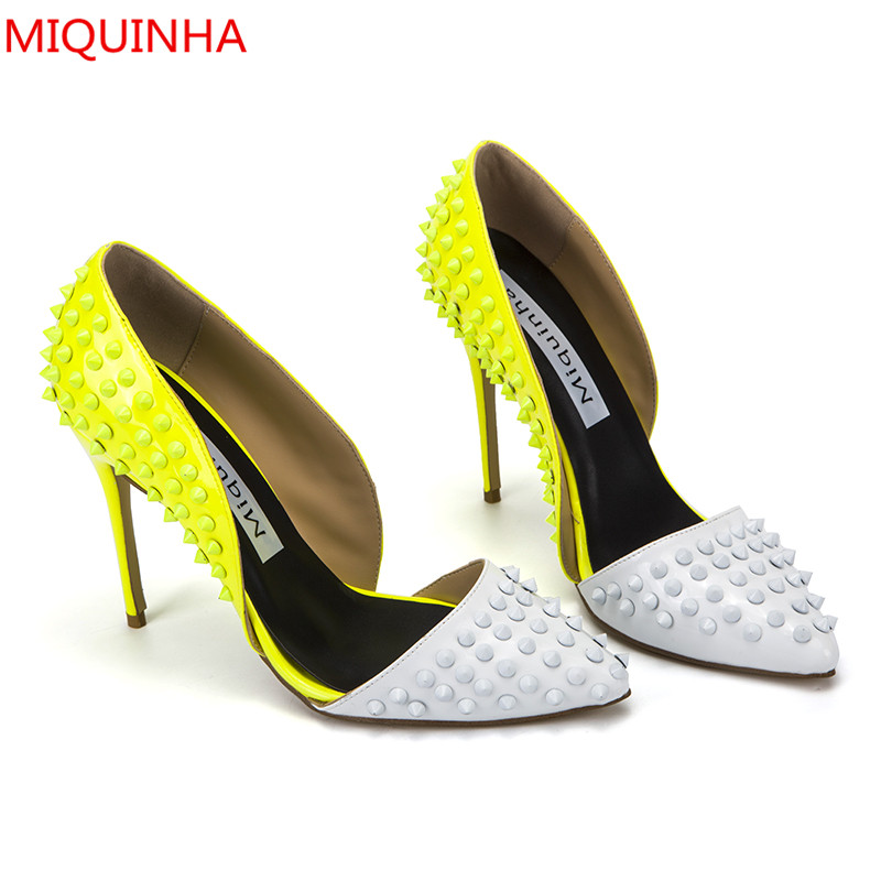 Fashion Ladies Shoes White & Yellow Tow Tones Colors Spikes Women Pumps Pointed Toe Shallow High Heel Party Wedding Shoes Woman new woman sweet bowtie pointed toe fashion women party wedding ladies shoes shallow mouth side hollow women high heel shoes