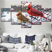 Canvas Home Decor Framework Pictures 5 Piece Animal Cardinal Painting Snow Tree Winter Poster HD Print Type Living Room Wall Art