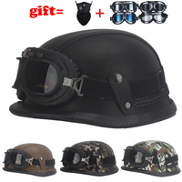Imitation World War II German Helmet Style Open Face Half Leather Helmet Harley Moto Vintage Motorbike