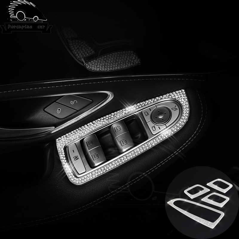 Diamonds Button Elevator Window Decoration Trim Cover Accessories For Mercedes Benz new C-class <font><b>C200</b></font> GLC26 Car Styling <font><b>Sticker</b></font> image