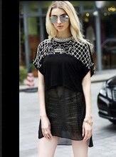 HHT005 women pearl beads tops Women diamond polo shirts lady rivet short sleeve tees female bottoming