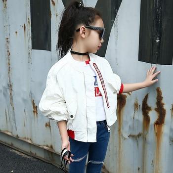 Weixu Children Spring Autumn Coat for Girls Fashion Kids White Bat Sleeves Oversize Biker Jacket Girls School Wear Bomber Jacket 2