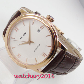 NEW Arrive 40mm Coutent White Dial Sapphire Glass Rose Golden Hands Miyota Automatic Mechanical Men's Watch