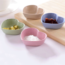 Creative Love Heart Shape Baby Kids Dish Bowl Wheat Straw Soy Sauce Rice Plate Sub Tableware Food Container