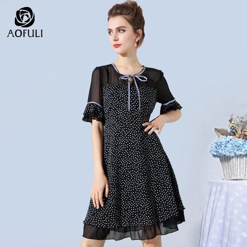 AOFULI L XXXL 4XL 5XL Vintage Polka Dot Print Dress Plus Size Lady See through Shoulder