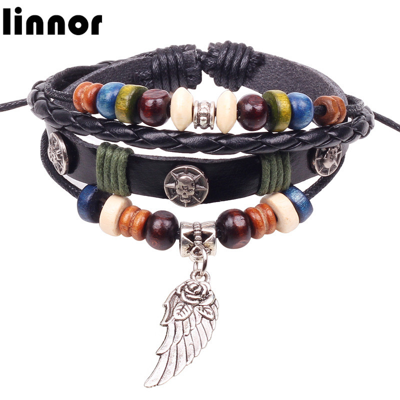 Linnor Tribe Multicolor Beaded Leather Bracelet Homme Ethnic Angel Wing Silver Alloy Pendant Braslet Friendship Cordao Bracelt